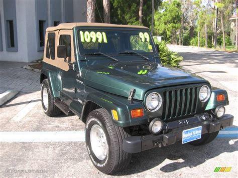 dark green jeep 1999 forest green pearlcoat jeep wrangler sahara 4x4