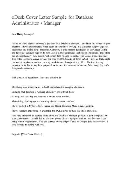 Cover Letter To The Hiring Manager by Odesk Cover Letter Sle For Database Administrator Or