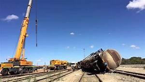 Dual Crane Lifts Of Train Derailment  Time Lapse