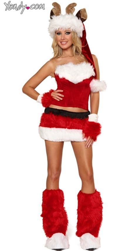 Faux Fur Reindeer Costume Set Holiday Christmas Wear