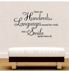 Free shipping cm vinyl wall quotes a smile speaks