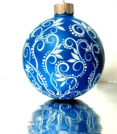 small blue and white ornament painted glass