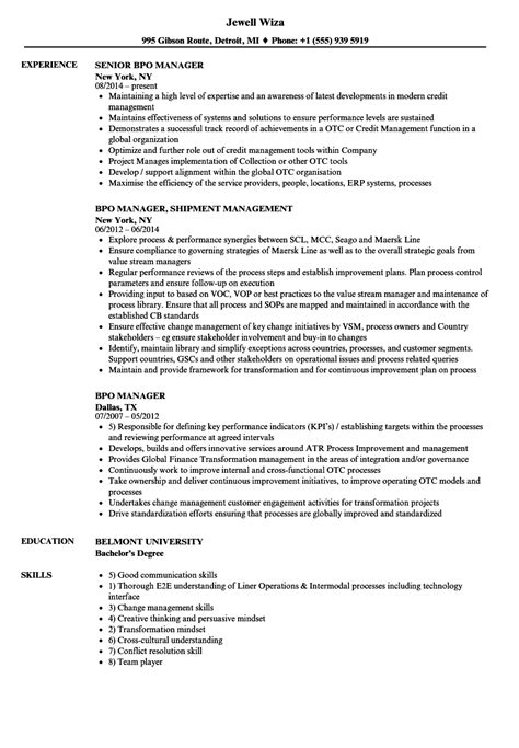 bpo manager resume samples velvet jobs