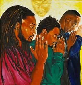 Black Art Men Praying Together