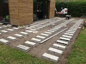 pose terrasse bois sur plot 1 nivrem sable newsindoco With comment faire une terrasse