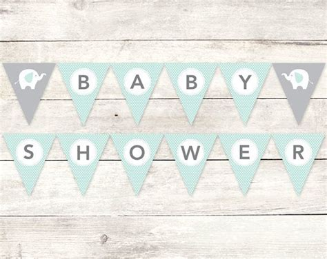 baby shower banner printable diy bunting banner elephant