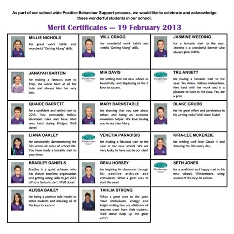 sample merit certificate template  documents