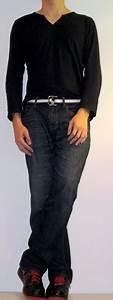Black Slit Neck T-Shirt Black Webbing Belt Dark Blue Jeans Black Sports Shoes - Menu0026#39;s Fashion ...