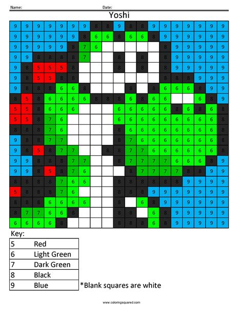 color square yoshi color by number coloring squared