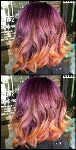 Purple And Orange Ombre Dip Dyed Hair Color Hairs