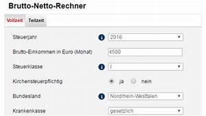 Stundenlohn Brutto Berechnen : brutto netto rechner 2018 check f r den lohn chip ~ Themetempest.com Abrechnung