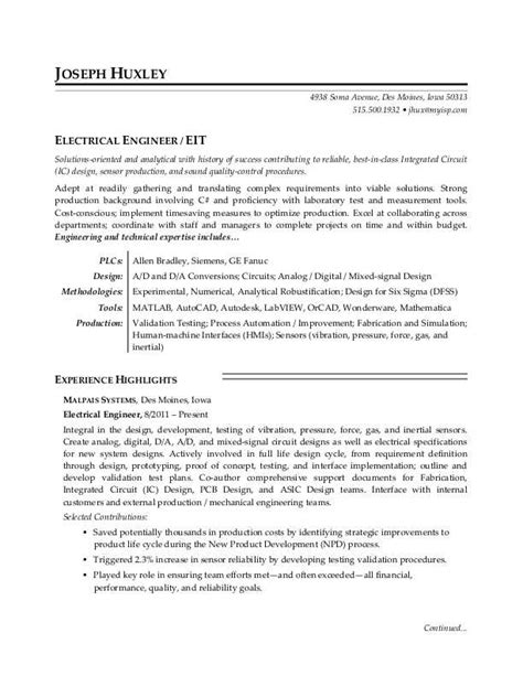 electrical engineer resume sle