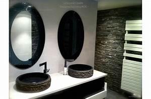 Vasque Pierre de Salle de Bain à poser en Basalte noir dia 40 VOLCANO DARK