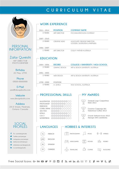 free modern cv resume design template for graphic designers