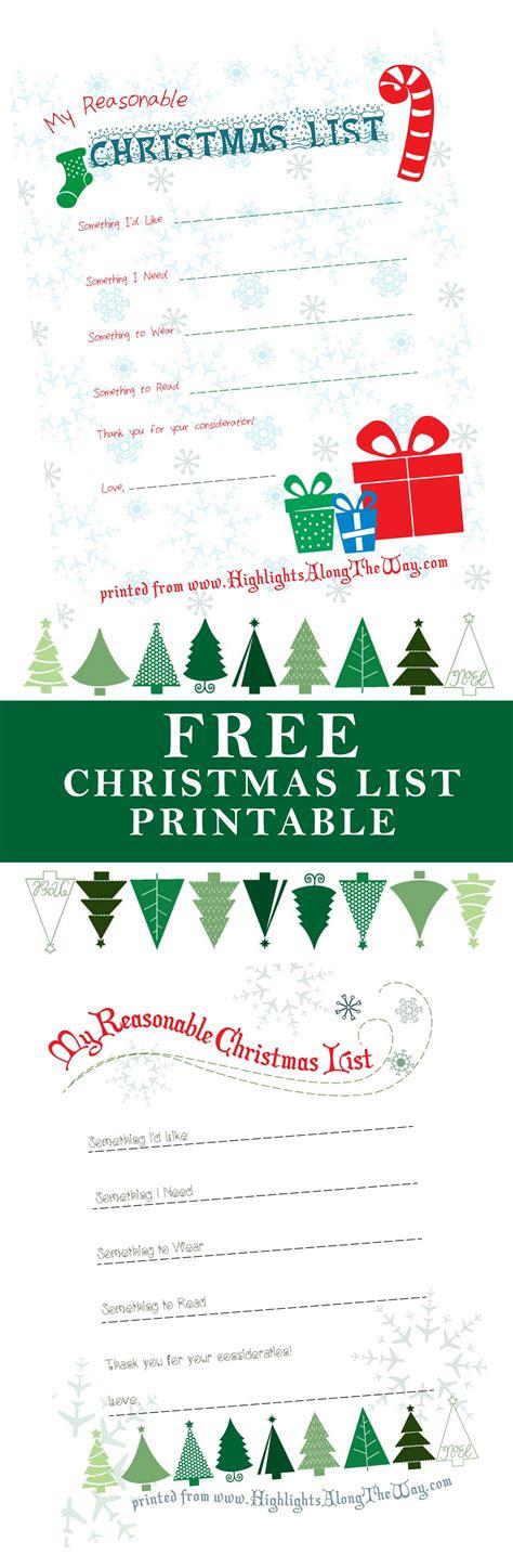 Christmas Printable  Free Christmas List Printable Activity Sheet