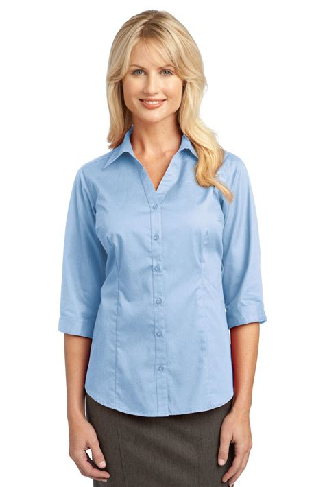 sleeve blouses for l6290 port authority work shirt 3 4 sleeve blouse