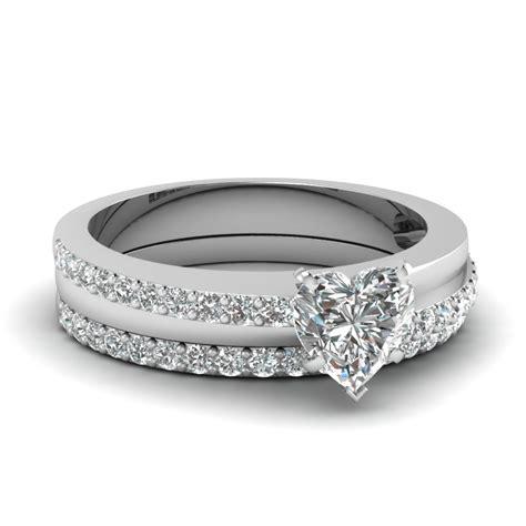 heart shaped fashion diamond wedding ring set in 950