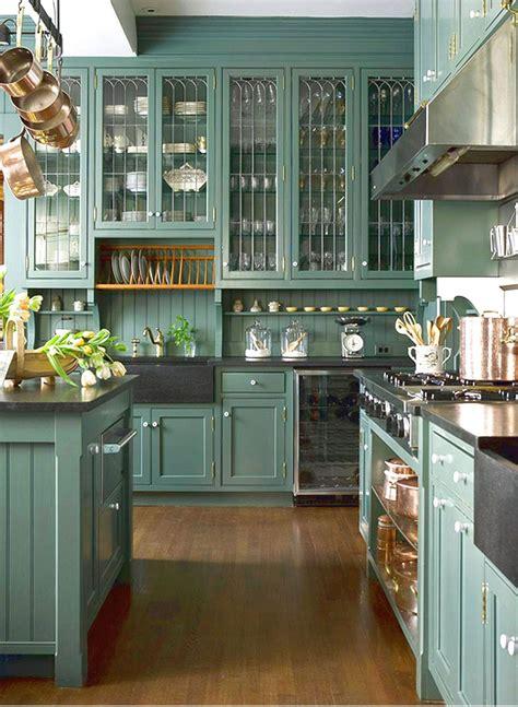 green kitchen cabinets  appealing design  modern