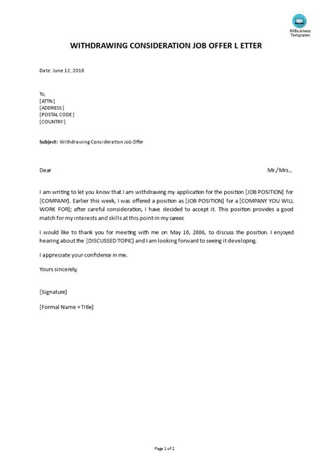 withdrawing  consideration job offer letter