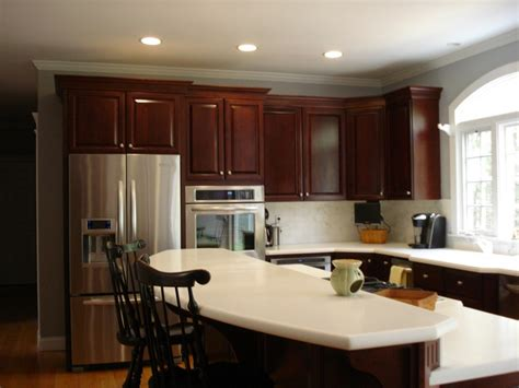 gray kitchen walls with cherry cabinets image result for white quartz cherry cabinets gray walls 8348