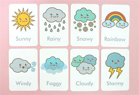 Free Printable Weather Flash Cards  Education  Pinterest  Preschool, Weather For Kids And