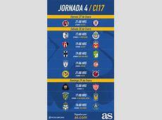 Fechas y horarios de la jornada 4 del Clausura 2017 de la