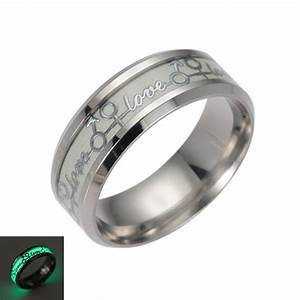 2017 new love ring stainless steel luminous rings for for Glow in the dark wedding rings