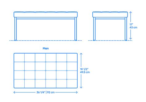 Two Seater Dimensions by Florence Knoll Two Seater Bench Dimensions Drawings