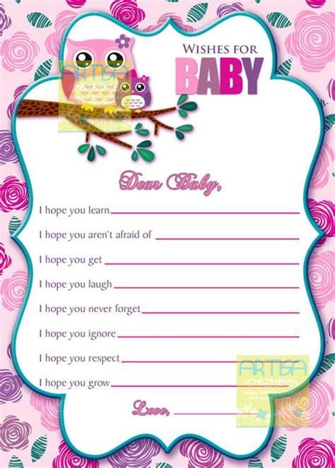 Pink Owl Wishes for baby card Owl Baby Girl by artisacreations
