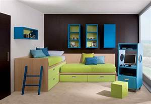 black and white wall paint idea feat l shaped bed with With simple kids room painting ideas