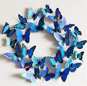 Papillon Décoration Murale : papillons 3d bleu d co murale ou sur r frig rateur boutique fashion ~ Teatrodelosmanantiales.com Idées de Décoration