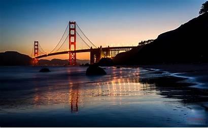 Bay San Skyline Night California Francisco Bridge