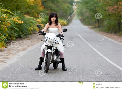 Bride On Motorcycle Stock Photo Image Of Portrait Elope