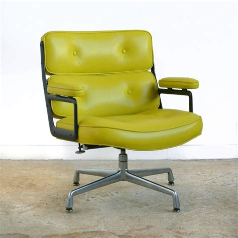 eames time chair with green leather by herman miller