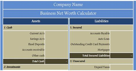 business net worth calculator excel template exceldatapro