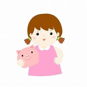 Girl saving money hold piggy bank cartoon. Vector ...