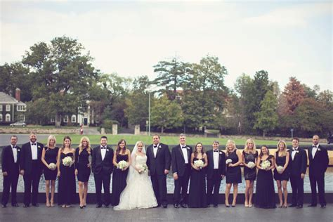 black and white bridal party attire elizabeth anne