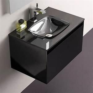 Meuble Salle De Bain Promo Destockage : pack promo meuble glass 60 noir robinet armoirette vidage ~ Teatrodelosmanantiales.com Idées de Décoration