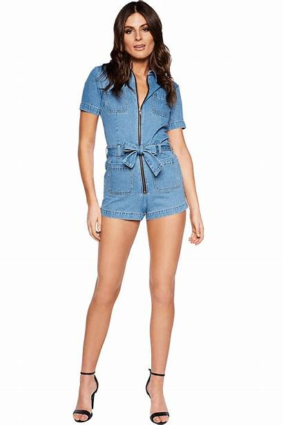 Romper Denim Zip Jumpsuits Playsuits Clothing Bardot
