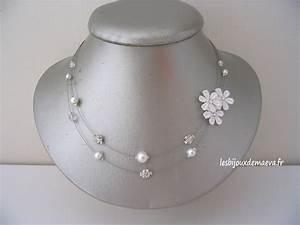 collier mariage blanc dentelle et perles sentimentale With robe mariage avec collier perle pas cher pour mariage