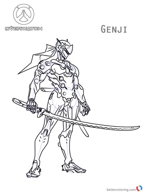 Coloring Skin by Genji From Overwatch Coloring Pages Free Printable