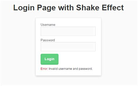login page with shake effect free source code tutorials and articles