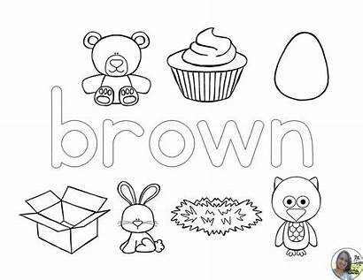 Coloring Colors Preschool Brown Learning Orange Worksheets