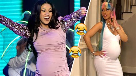 cardi b talking video watch cardi b talking to her baby bump is funniest thing