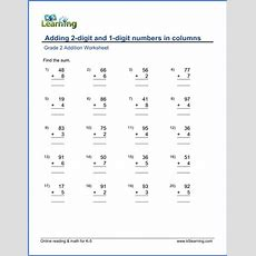 Grade 2 Worksheet  Adding 2digit And 1digit Numbers In Columns  K5 Learning