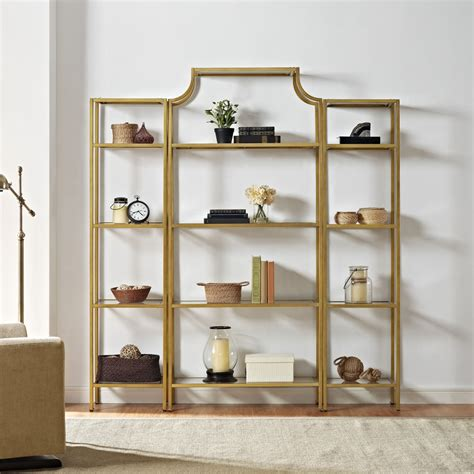 Etagere Glass by Crosley Kf65004gl Aimee Etagere Set In Antique Gold Finish