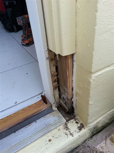 Door Jamb Repair by During Outside Door Jamb Being Repaired Removed The