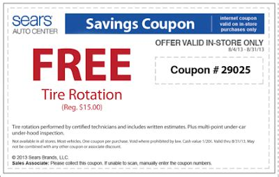 27952 Sears Promo Code 15 by Sears Auto Center Free Tire Rotation And Brakes