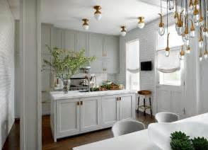 grey cabinets brass hardware design decor photos