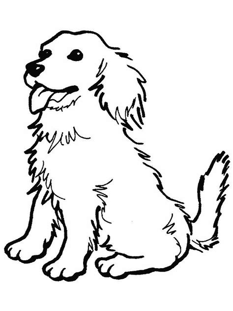 black  white drawing   cute sitting dog clipart  image
